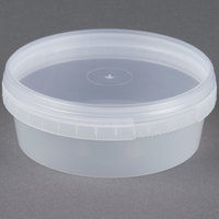 8 oz. Clear Tamper Evident Safe Lock Deli Container with Lid - 50 / Case