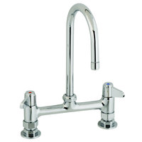 Equip by T&S 5F-8DLS09 Deck Mount Mixing Faucet with Lever Handles on 8 inch Centers - 16 15/16 inch Swivel Gooseneck Nozzle with 9 inch Spread