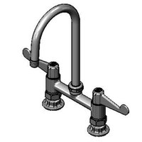Equip by T&S 5F-6DWS05 Deck Mount Mixing Faucet with Wrist Action Handles on 6 inch Centers - 14 inch High Swivel Gooseneck with 5 9/16 inch Spread