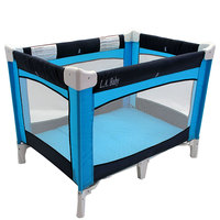 L.A. Baby PY-87-CS-0504 Collapsible Navy Turquoise Play Yard with Carrying Case