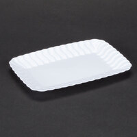 Fineline Flairware 257WH White 5 inch x 7 inch Plastic Snack Tray - 18 / Pack