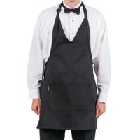 Chef Revival VNA3840-BK Customizable Black Tuxedo V-Neck Apron with Two Pockets - 30 inchL x 40 inchW