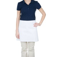 Chef Revival 603FW 34 inch x 17 inch Customizable Four Way White Half Apron