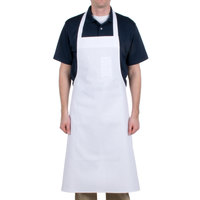 Chef Revival 610BAC Customizable Economy White Cotton Bib Apron with Pen Pocket - 37 inchL x 40 inchW