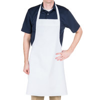 Chef Revival 600BAW-NP Customizable Economy White Poly-Cotton Bib Apron - 34 inchL x 34 inchW