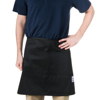 Chef Revival 607HBA2-BK 28 inch x 19 inch Customizable Two Pocket Black Bistro Apron