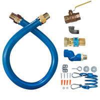 Dormont 16125KITS24 Blue Hose Stainless Steel Moveable Foodservice Gas Connector with Swivel - 24 inch x 1 1/4 inch