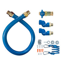 Dormont 16100KITCF2S24 Blue Hose Stainless Steel Moveable Foodservice Gas Connector with Quick Disconnect, Two Swivels, and Restraining Cable - 24 inch x 1 inch