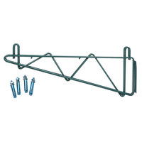 Regency 18 inch Deep Double Wall Mounting Bracket for Adjoining Green Epoxy Wire Shelving