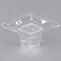 Fineline Tiny Temptations 6205-CL 2 3/4 inch x 2 3/4 inch Tiny Tiers 2-Piece Clear Plastic Tray with 1 oz. Stem - 240/Case