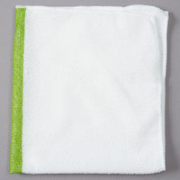 Rubbermaid 1805730 HYGEN Sanitizer Safe 16 inch x 19 inch White Microfiber Cloth with Green Stripe