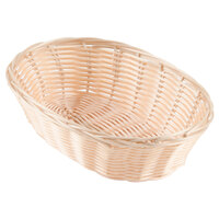 Choice 9 inch x 7 1/4 inch x 2 3/4 inch Oval Natural-Colored Rattan Basket