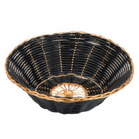 Choice 7 3/4 inch Round Black and Gold Rattan Basket