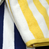 Hotel Pool Towel - Yellow Stripe 30 inch x 60 inch 100% 2 Ply Cotton 9 lb.