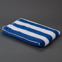 Hotel Pool Towel - Blue Stripe 32 inch x 66 inch 100% 2 Ply Cotton 11 lb.
