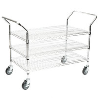Regency 24 inch x 42 inch Three Shelf Chrome Heavy Duty Utility Cart