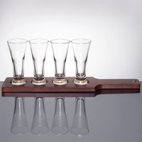 Libbey Craft Brews Beer Flight - 4 Pilsner Glass Set with Red Brown Wood Paddle