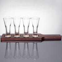 Libbey Craft Brews Beer Flight Set - 4 Pilsner Glasses with Red Brown Wood Paddle