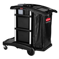 Rubbermaid 1861428BLACK Executive High Capacity Janitor Cart with Bins