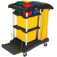 Rubbermaid FG9T7400BLA HYGEN Microfiber High Capacity Janitor Cart with Color Coded Pails