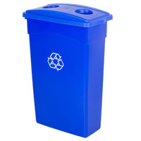 Continental 23 Gallon Blue Wall Hugger Recycling Trash Can and Lid with Holes Set