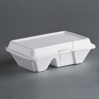 Dart Solo 205HT2 9 inch x 6 inch x 3 inch White Foam 2 Compartment Hinged Lid Container 100 / Pack