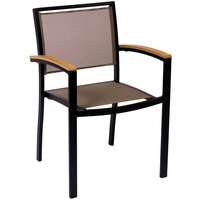 BFM Seating PH101CTPBL Delray Outdoor / Indoor Black Aluminum Arm Chair with Taupe Batyline Seat and Back
