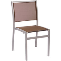 BFM Seating PH102CTPSV Delray Outdoor / Indoor Silver Aluminum Side Chair with Taupe Batyline Seat and Back