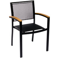 BFM Seating PH101CBLBL Delray Outdoor / Indoor Black Aluminum Arm Chair with Black Batyline Seat and Back