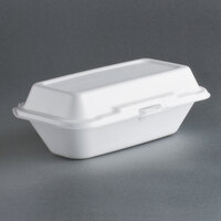 Dart Solo 99HT1R 10 inch x 5 1/2 inch x 3 inch White Foam Hoagie Take Out Container with Perforated Hinged Lid - 125 / Case