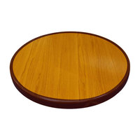 American Tables & Seating ATR24 Resin Super Gloss 24 inch Round Two Tone Table Top - Cherry and Mahogany