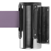 Chrome Wall-Mount Stanchion with 10' Purple Retractable Belt