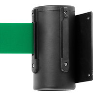 Black Wall-Mount Stanchion with 10' Green Retractable Belt