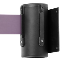 Black Wall-Mount Stanchion with 10' Purple Retractable Belt
