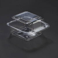 Dart Solo C20UTD StayLock 5 1/4 inch x 5 5/8 inch x 3 1/4 inch Clear Hinged Plastic 5 inch Square Deep Base Container - 125/Pack