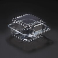 Dart Solo C25UT1 StayLock 6 1/8 inch x 6 1/2 inch x 3 1/4 inch Clear Hinged Plastic 6 inch Square Container - 125 / Pack