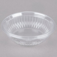Dart Solo C24HBF PresentaBowls 24 oz. Clear Hinged Plastic Bowl with Flat Lid - 75 / Pack
