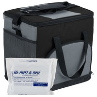 Choice Soft Sided 12 inch x 9 inch x 11 1/2 inch Black Insulated Nylon Cooler with Foam Freeze Pack Kit