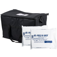 Choice Soft Sided 22 inch x 13 inch x 14 inch Black Insulated Nylon Cooler Bag with Foam Freeze Pack Kit