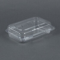 Dart Solo C32UT1 StayLock 9 3/8 inch x 6 3/4 inch x 2 5/8 inch Clear Hinged Plastic Medium Medium Dome Oblong Container - 125 / Pack