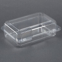 Dart Solo C40UT1 StayLock 9 3/8 inch x 6 3/4 inch x 3 1/8 inch Clear Hinged Plastic Medium High Dome Oblong Container - 125/Pack