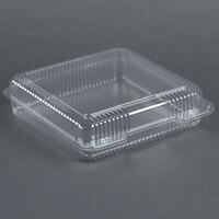 Dart Solo C50UT1 StayLock 9 1/8 inch x 9 1/2 inch x 2 1/2 inch Clear Hinged Plastic 9 inch Square Container - 125/Pack