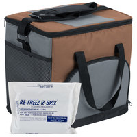 Choice Insulated Cooler Bag / Soft Cooler, Brown Nylon 12 inch x 9 inch x 11 1/2 inch, with Foam Freeze Pack Kit