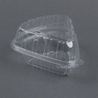 Dart Solo Showtime C54HT1 6 inch x 6 inch x 3 inch Clear Hinged Lid Pie Wedge Container - 125 / Pack
