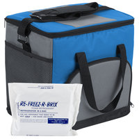 "Choice Soft Sided 12"" x 9"" x 11 1/2"" Blue Insulated Nylon Cooler with Foam Freeze Pack Kit"
