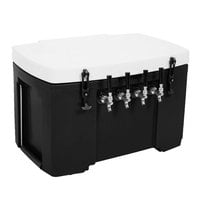 Black 4 Faucet Grizzly Jockey Box with (4) 120' Coils - 30 inch x 20 1/2 inch x 20 inch
