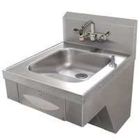 Advance Tabco 7-PS-46 Hand Sink with Splash Mount Faucet and Wrist Handles - 20 inch x 24 inch
