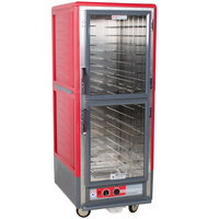 Metro C539-HLDC-L C5 3 Series Insulated Low Wattage Full Size Hot Holding Cabinet with Lip Load Aluminum Slides and Clear Dutch Doors - Red