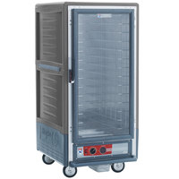 Metro C537-HLFC-4-GY C5 3 Series Insulated Low Wattage 3/4 Size Heated Holding Cabinet with Fixed Wire Slides and Clear Door - Gray