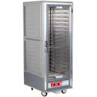 Metro C539-HLFC-U C5 3 Series Insulated Low Wattage Full Size Hot Holding Cabinet with Universal Wire Slides and Clear Door - Gray